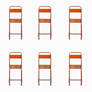 Chaises en Métal Orange, 1950s, Set de 6