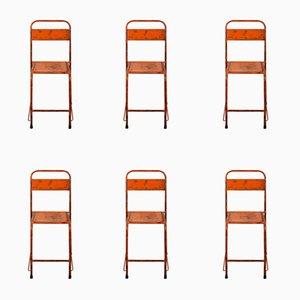 Sedie in metallo arancione acceso, anni '50, set di 6