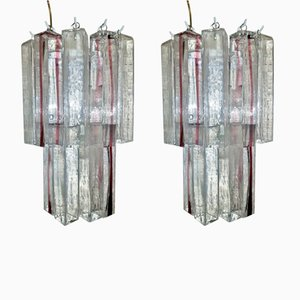 Vintage Modernist Wall Lights in Murano Glass by Veart, Set of 2