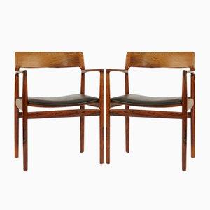 Dänische Mid-Century Palisander Armlehnstühle von Rodding Denmark Norgard Furniture Factory, 2er Set