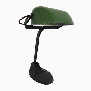 Industrielle Schreibtischlampe mit Schirm aus grüner Emaille, 1930er