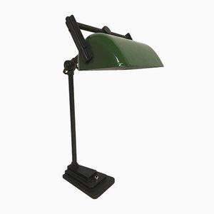 Lámpara de banquero industrial con pantalla lacada en verde, años, 30