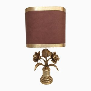 Hollywood Regency Brass Flower Lamp, 1970s