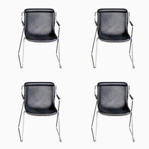 Sedie Penelope vintage a rete di Charles Pollock per Anonima Castelli, set di 4