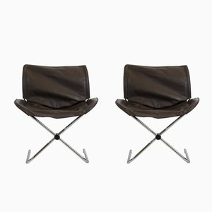 Vintage Foldable Leather Armchairs from Cor, Set of 2