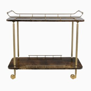 Bar Cart with Goat Skin by Aldo Tura, 1960s