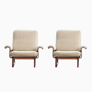 Mid-Century Italian Molded Wood Armchairs, Set of 2