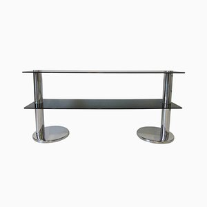 Table Console en Chrome et Verre, Italie, 1970s