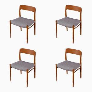 Modell 75 Stühle von Niels O. Møller, 1950er, 4er Set