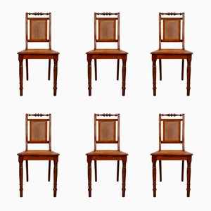 Walnut with Braid Dining Room Chairs, 1880s, Set of 6