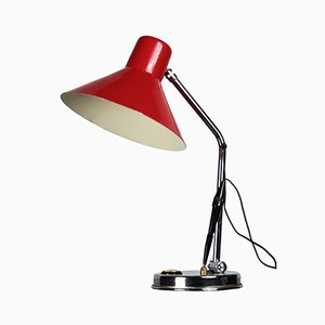 Italian Red Table Lamp with Thermometer, 1960s