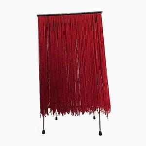 Lámpara española con flecos rojos y base de plexiglás