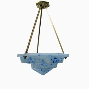 Art Deco Ceiling Light in Satined Glass & Brass