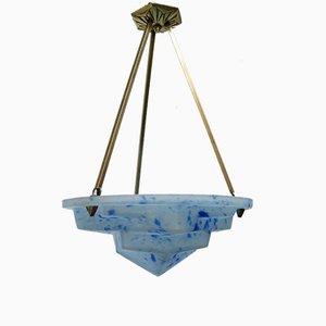 Art Deco Deckenlampe aus satiniertem Glas & Messing