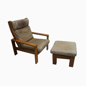 Teak Armchair with Stool, 1970s