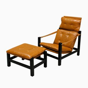 Safari Armchair with Stool, 1970s