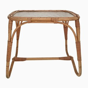 Mid-Century Rattan & Glass Side Table
