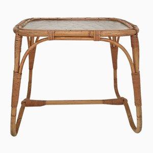 Tavolino Mid-Century in vimini e vetro
