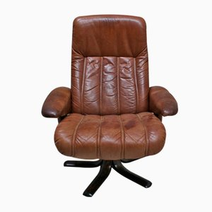 Leather Swivel Armchair from Scovby, 1970s