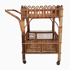 Mid-Century Rattan Bar Cart