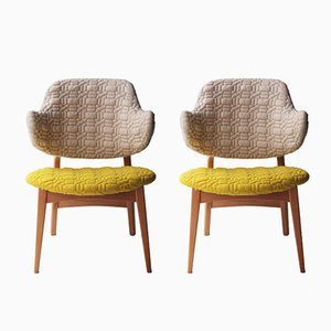 Danish Birch Armchairs, 1950s, Set of 2