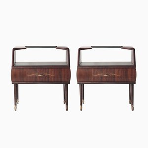Rosewood & Opaline Glass Bedside Tables, 1950s, Set of 2