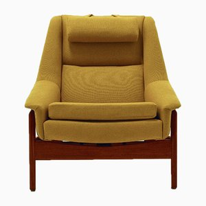 Swedish Yellow Wool & Teak Armchair by Folke Ohlsson for Dux, 1960s