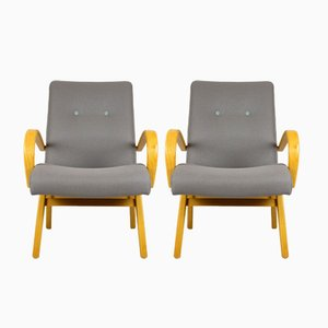 Mid-Century Grey & Pastels Armchairs, 1960s, Set of 2