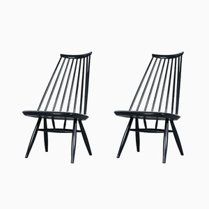 Schwarze Mademoiselle Stühle von Ilmari Tapiovaara für Asko, 1950er, 2er Set