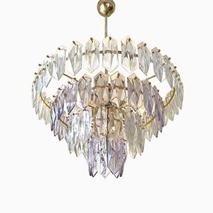 Vintage German Glass Chandelier with Gilt Frame from Kinkeldey, 1960s