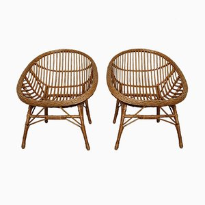 Rattan & Bamboo Chairs, 1960s, Set of 2