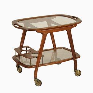 Italian Mahogany & Glass Service Cart, 1950s