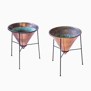 Macetas de cobre de Hans-Agne Jakobsson, años 50. Juego de 2