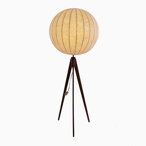 Danish Modern Floor Lamp on Tripod Teak Base