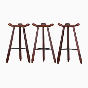 Vintage Brutalist Spanish Marbella Oak Bar Stools, Set of 3