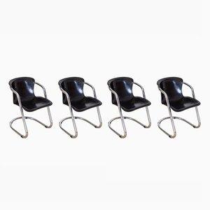 Chaises de Salon en Chrome Tubulaire par Willy Rizzo pour Cidue, Italie, 1970s, Set de 4