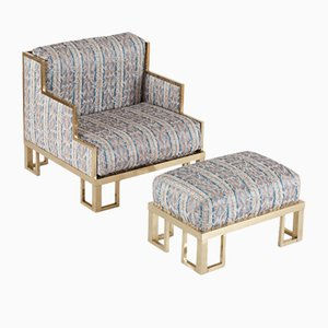 Lounge Chair & Ottoman with Brass Frame by Willy Rizzo, 1970s
