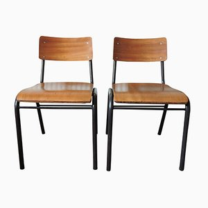 Vintage Portuguese School Chair, 1970s, Set of 2