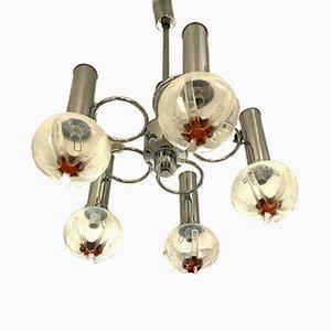 Lámpara de araña italiana vintage de cristal de Murano de Mazzega, años 70