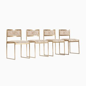 Italian Brass Dining Chairs, 1970s, Set of 4