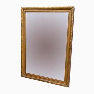 Espejo de pared francés antiguo de madera dorada con chapado de mercurio
