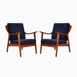 Navy Blue Armchairs, 1960s, Set of 2