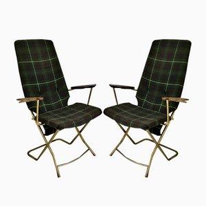 Vintage klappbare Armlehnstühle, 2er Set