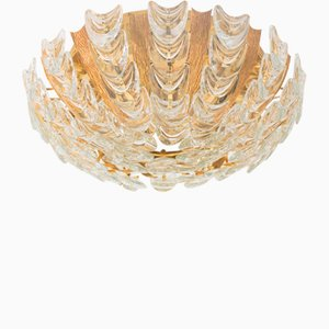 Vintage German Gilt Brass & Crystal Ceiling Lamp from Palwa, 1960s