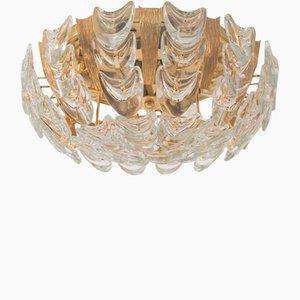 Lámpara de techo alemana vintage de cristal y latón dorado de Palwa, años 60