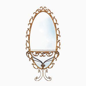 Large Gold Colored Oval Mirror with Console from G. Battista, 1950s