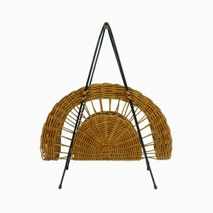 Rattan & Black Metal Magazine Rack, 1950s