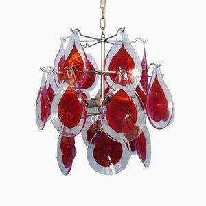 Lámpara de techo italiana vintage de cristal de Murano con disco de vidrio de Gino Vistosi, años 60