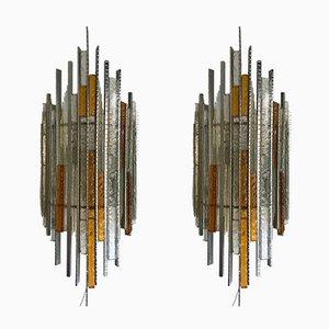 Apliques italianos de vidrio y hierro de Biancardi and Jordan Arte, años 70. Juego de 2