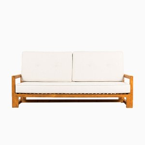 Pine Sofa with Beige Cushions, 1950s